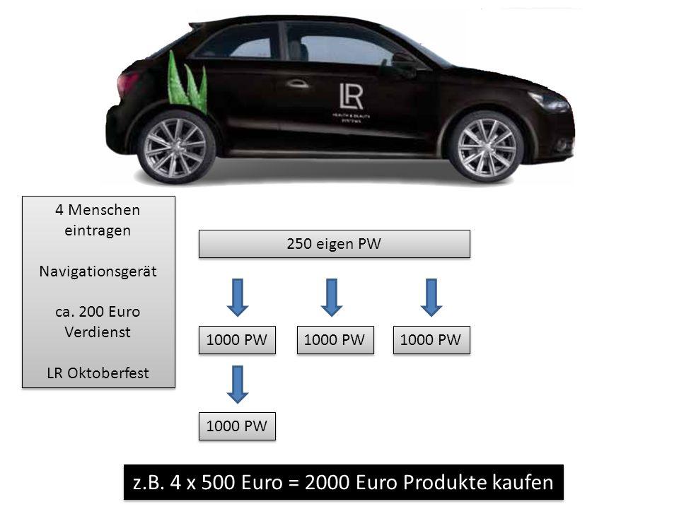 z.B. 4 x 500 Euro = 2000 Euro Produkte kaufen