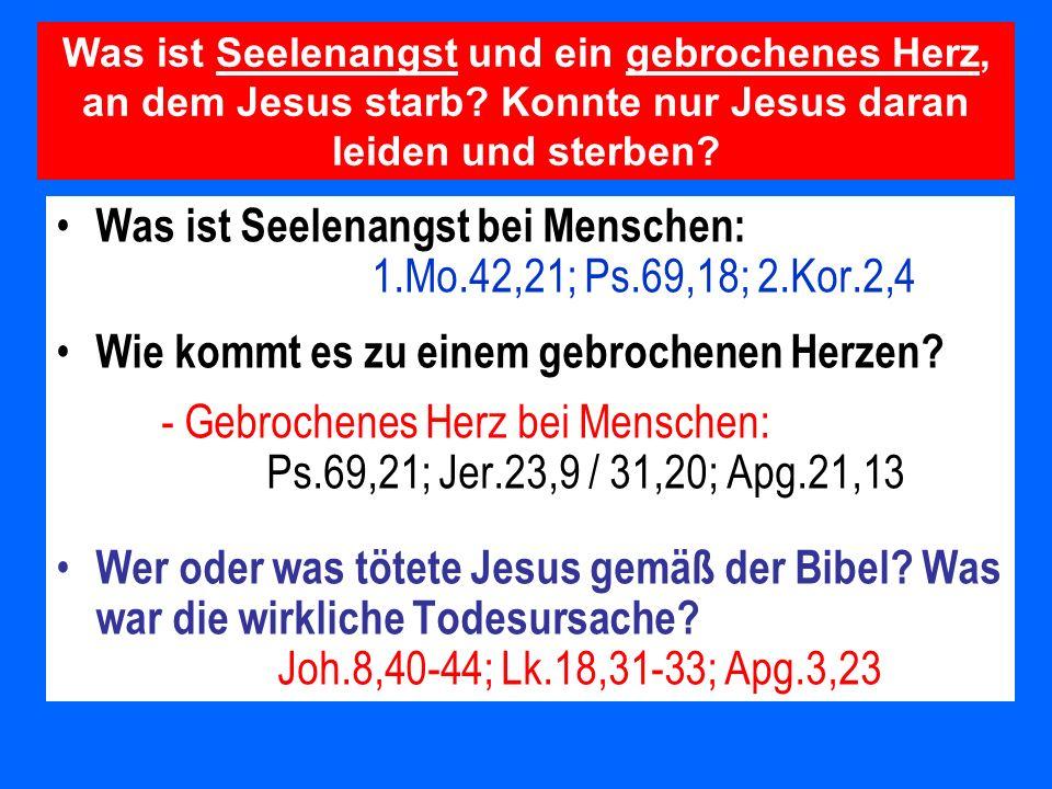 Was ist Seelenangst bei Menschen: 1.Mo.42,21; Ps.69,18; 2.Kor.2,4