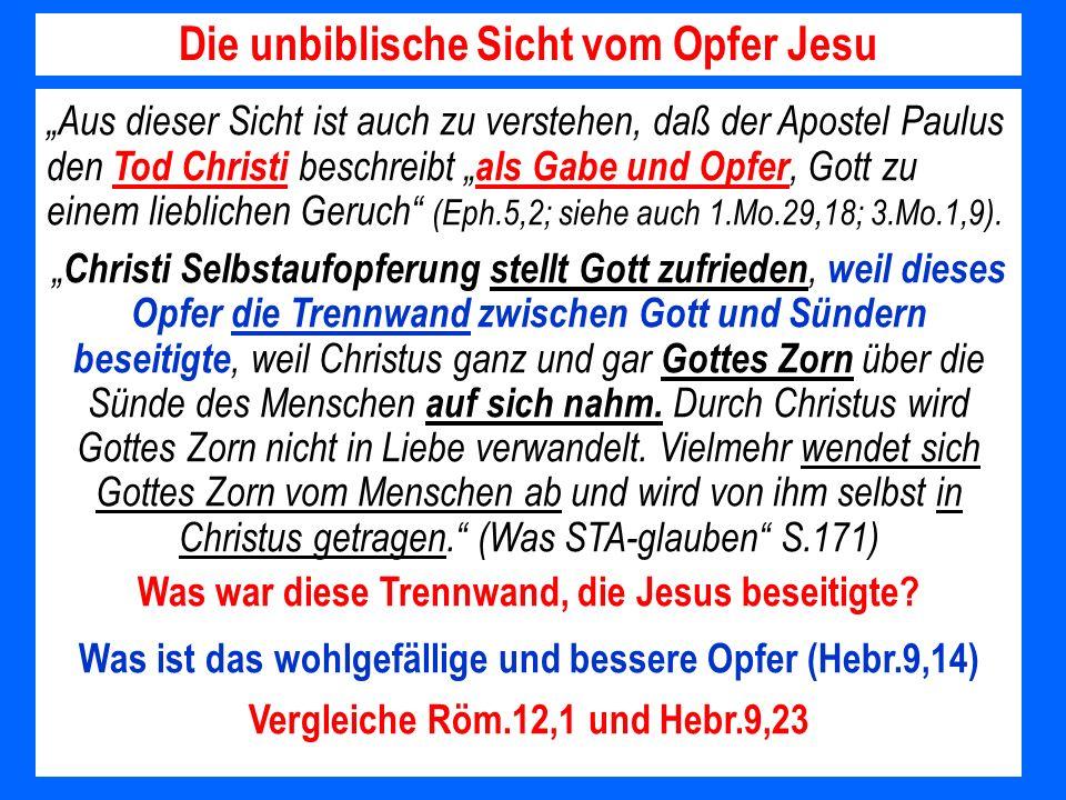Die unbiblische Sicht vom Opfer Jesu