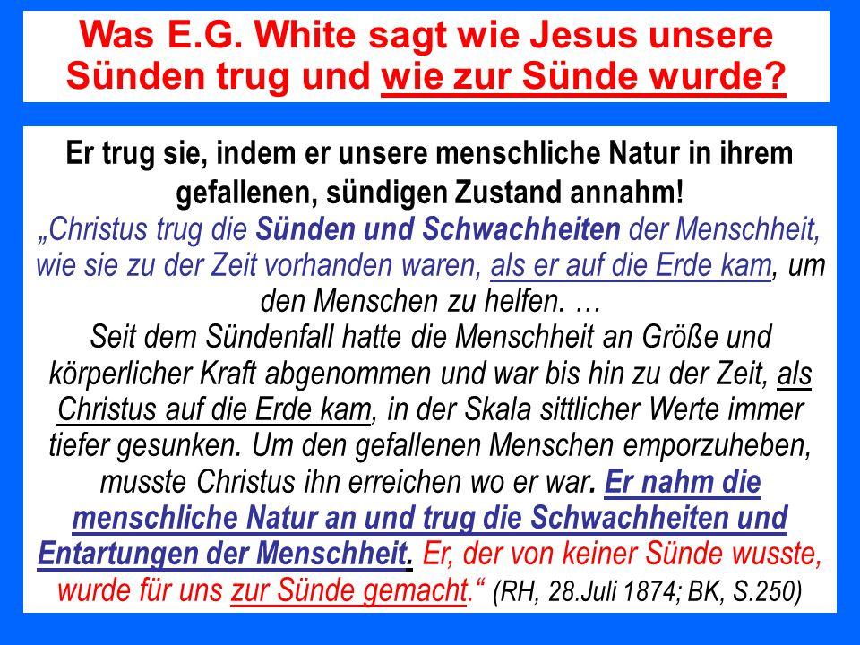 Was E.G. White sagt wie Jesus unsere Sünden trug und wie zur Sünde wurde