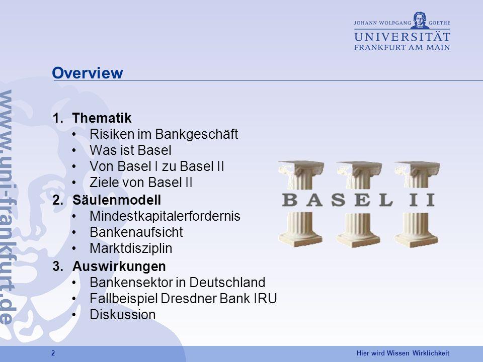 Overview 1. Thematik Risiken im Bankgeschäft Was ist Basel
