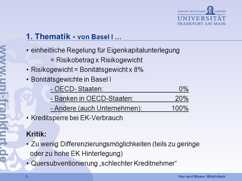 1. Thematik - von Basel I … einheitliche Regelung für Eigenkapitalunterlegung. = Risikobetrag x Risikogewicht.