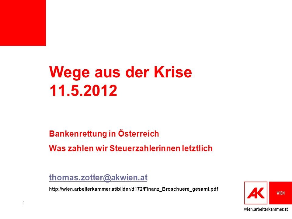 Wege aus der Krise 11.5.2012 Bankenrettung in Österreich