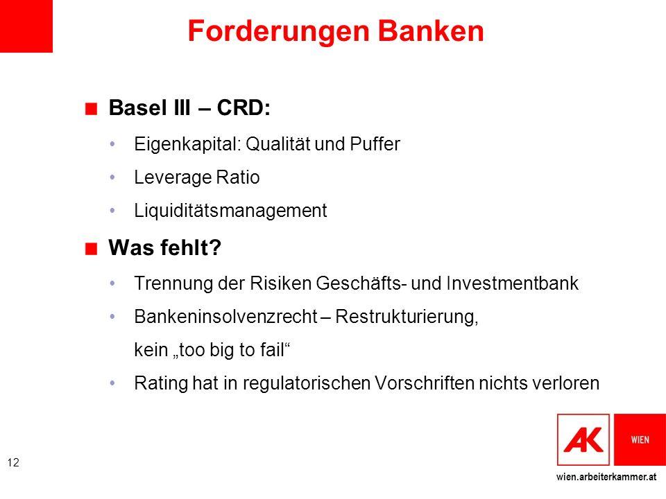 Forderungen Banken Basel III – CRD: Was fehlt