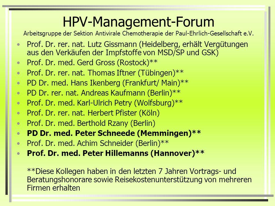 HPV-Management-Forum Arbeitsgruppe der Sektion Antivirale Chemotherapie der Paul-Ehrlich-Gesellschaft e.V.