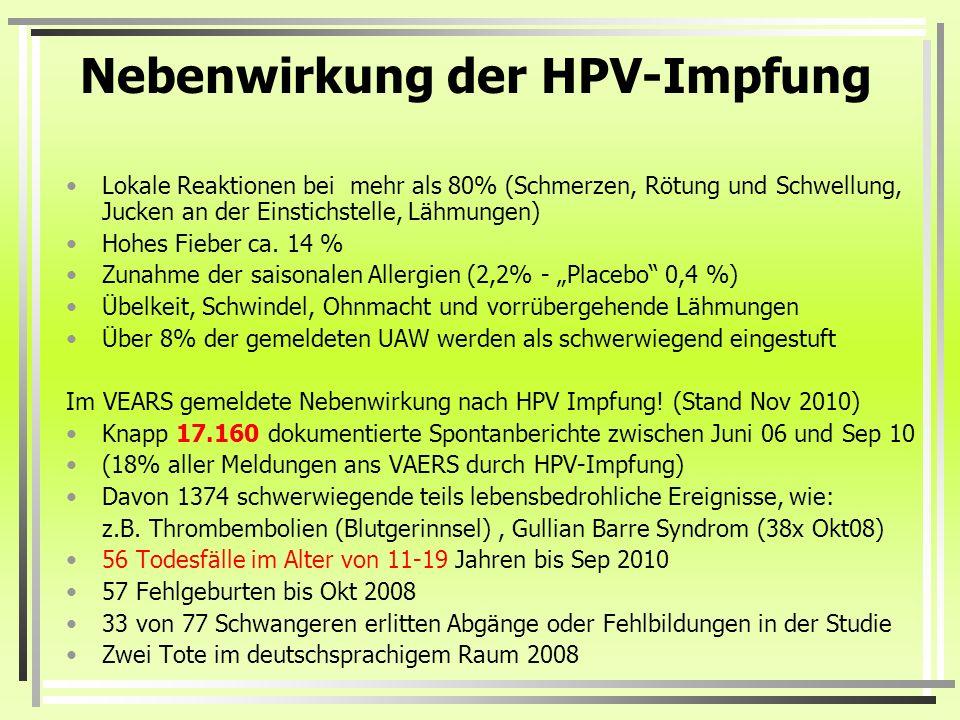 Nebenwirkung der HPV-Impfung