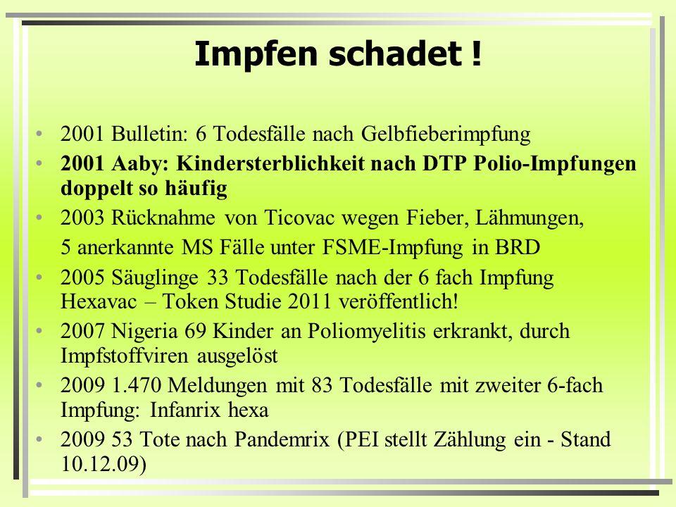Impfen schadet ! 2001 Bulletin: 6 Todesfälle nach Gelbfieberimpfung