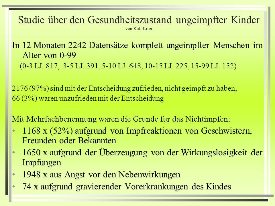 Studie über den Gesundheitszustand ungeimpfter Kinder von Rolf Kron