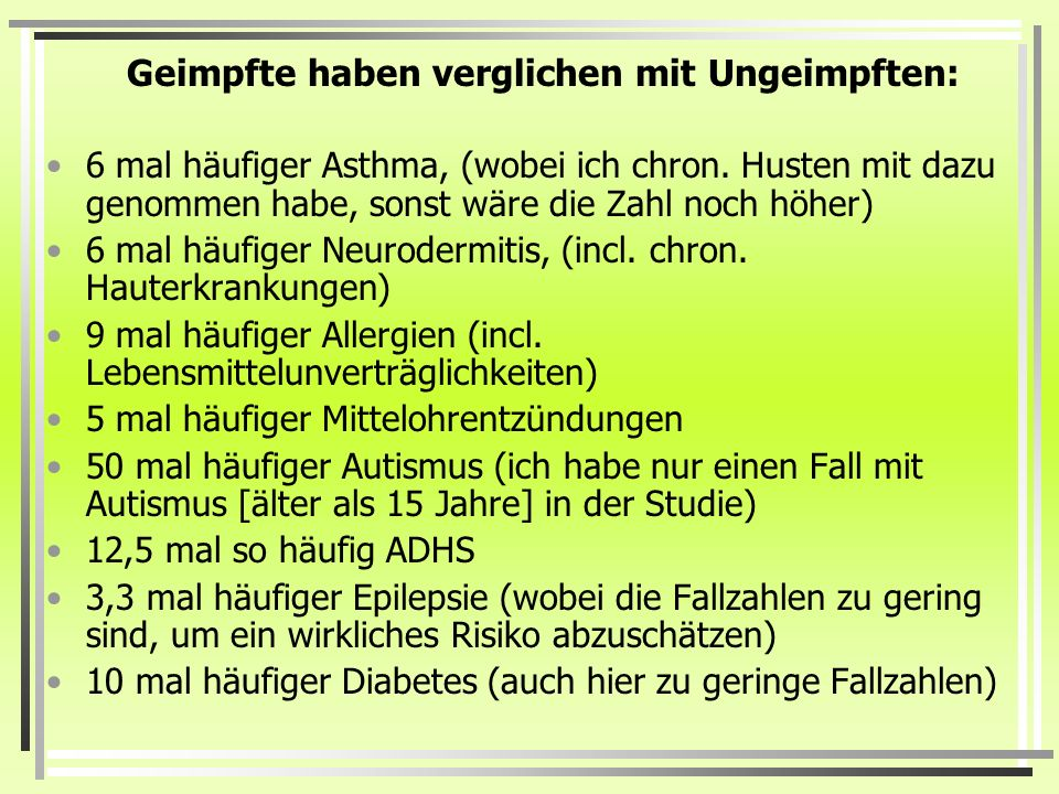 Geimpfte haben verglichen mit Ungeimpften: