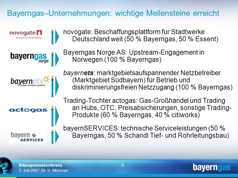 Bayerngas–Unternehmungen: wichtige Meilensteine erreicht