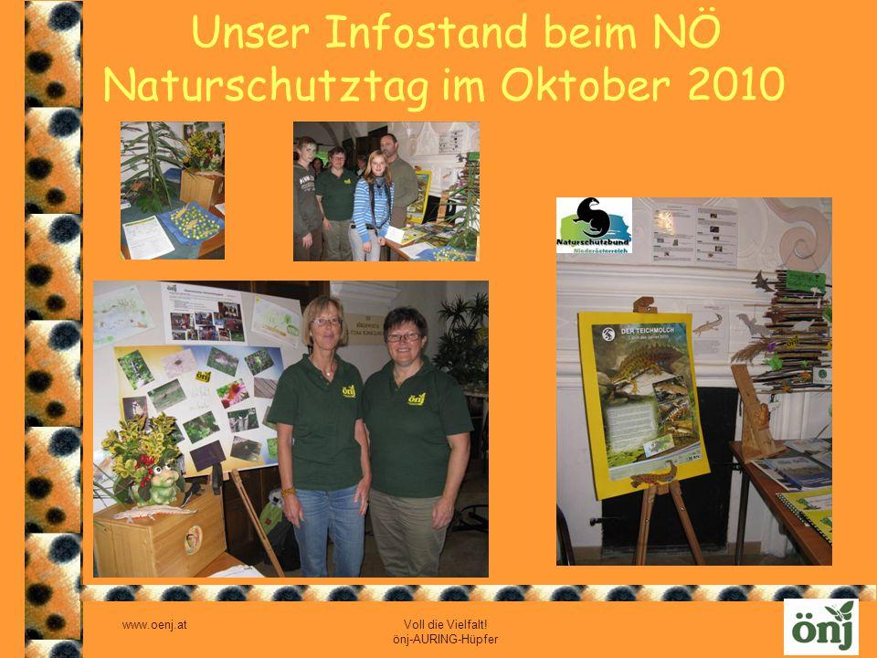 Unser Infostand beim NÖ Naturschutztag im Oktober 2010
