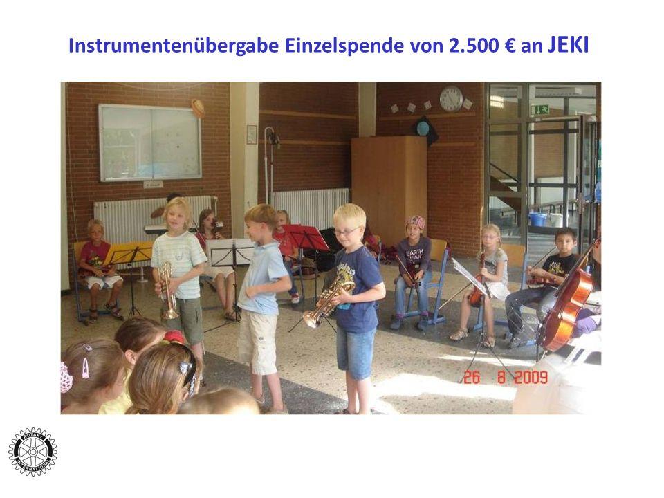 Instrumentenübergabe Einzelspende von 2.500 € an JEKI