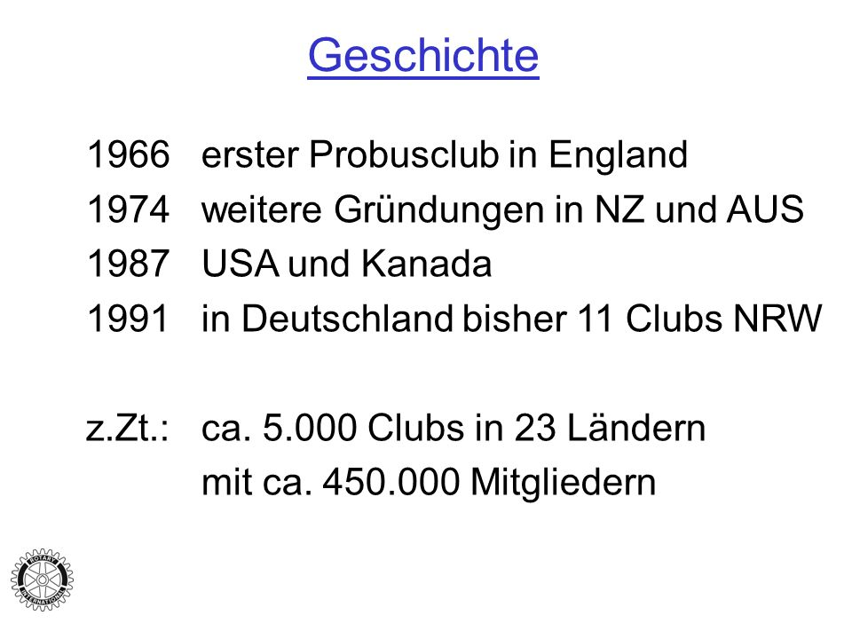 Geschichte 1966 erster Probusclub in England