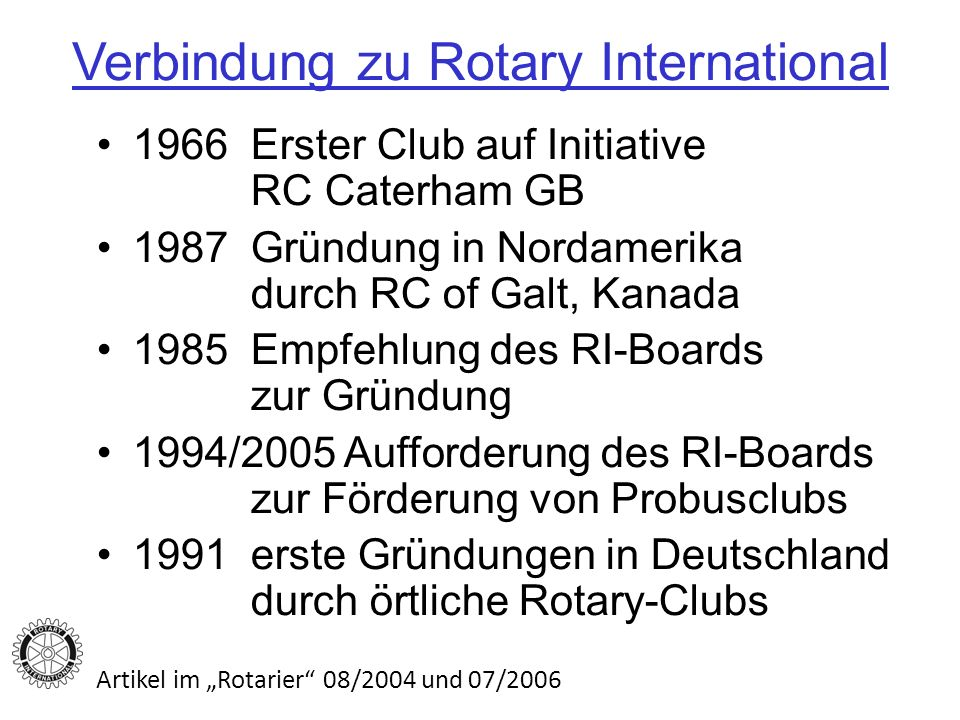 Verbindung zu Rotary International