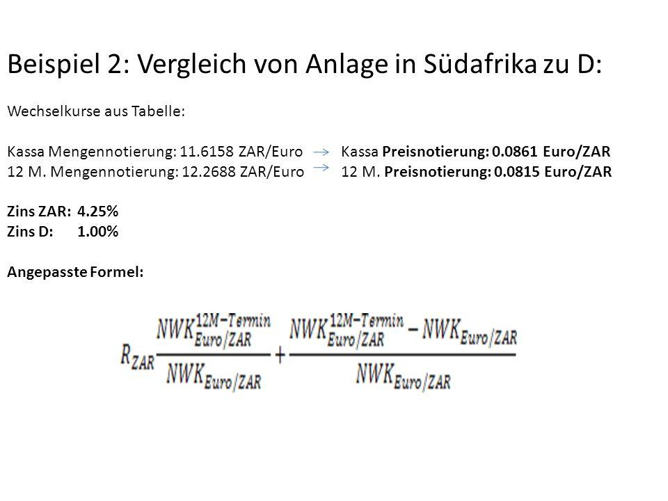 Beispiel 2: Vergleich von Anlage in Südafrika zu D: