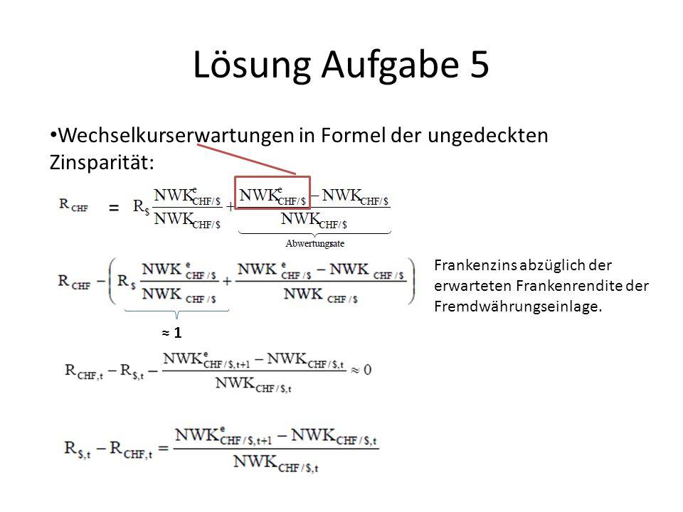 Lösung Aufgabe 5 Wechselkurserwartungen in Formel der ungedeckten Zinsparität: =