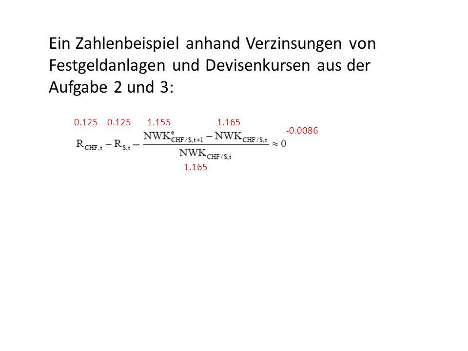 Ein Zahlenbeispiel anhand Verzinsungen von Festgeldanlagen und Devisenkursen aus der Aufgabe 2 und 3: