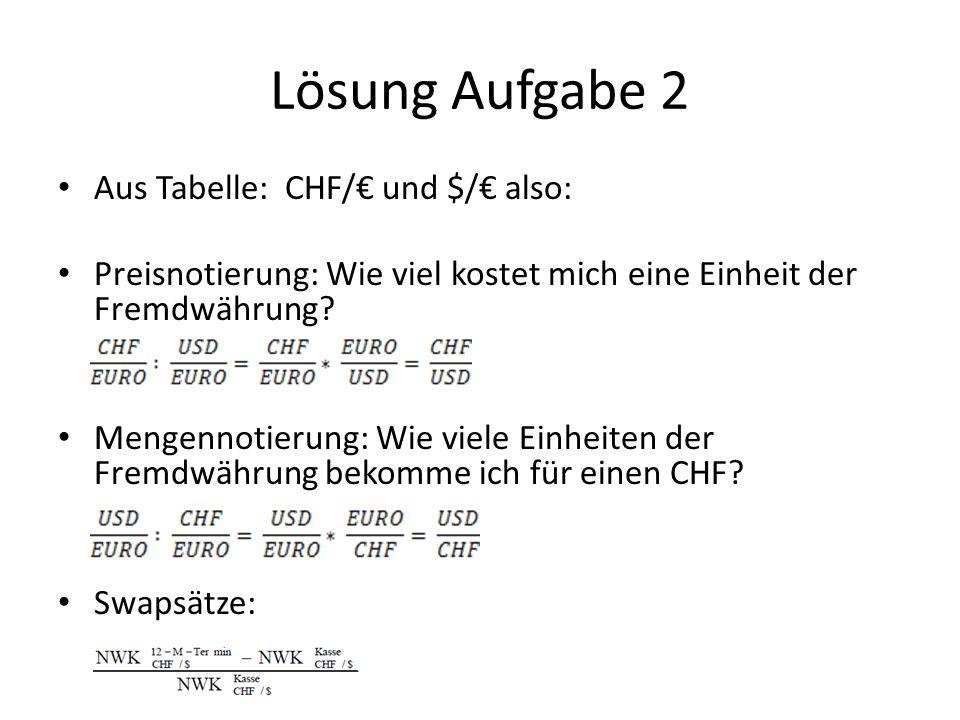 Lösung Aufgabe 2 Aus Tabelle: CHF/€ und $/€ also: