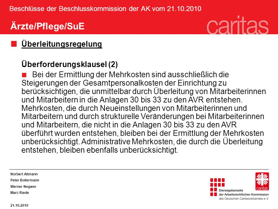 Beschlüsse der Beschlusskommission der AK vom 21.10.2010