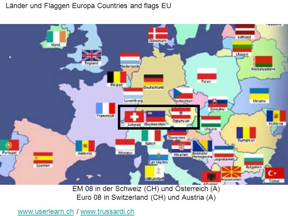 Länder und Flaggen Europa Countries and flags EU