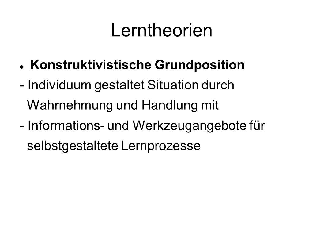 Lerntheorien Konstruktivistische Grundposition