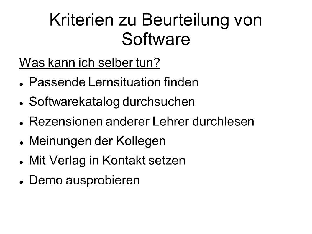 Kriterien zu Beurteilung von Software