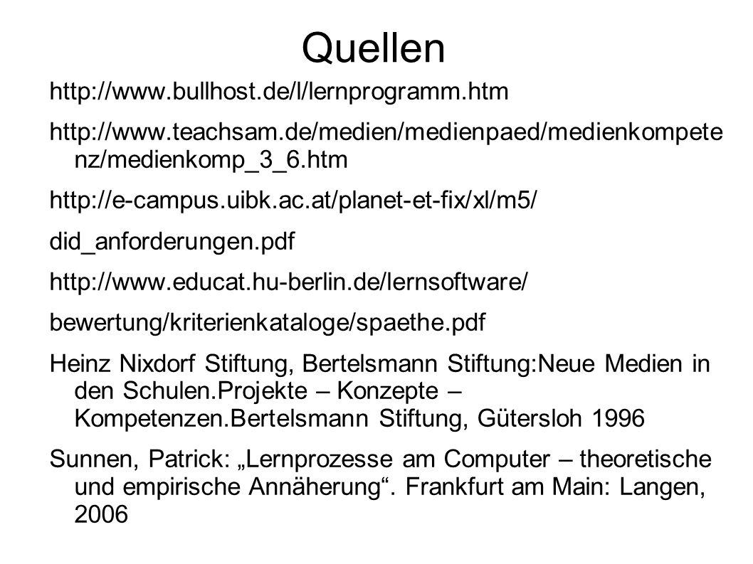 Quellen http://www.bullhost.de/l/lernprogramm.htm