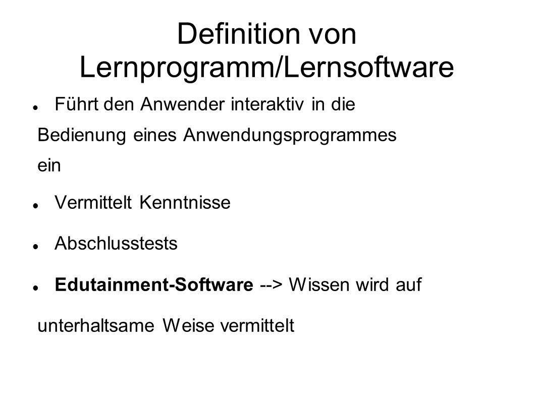Definition von Lernprogramm/Lernsoftware