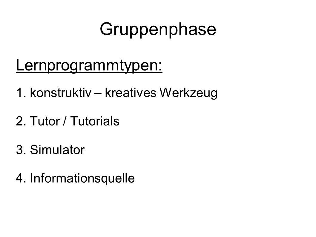 Gruppenphase Lernprogrammtypen: 1. konstruktiv – kreatives Werkzeug