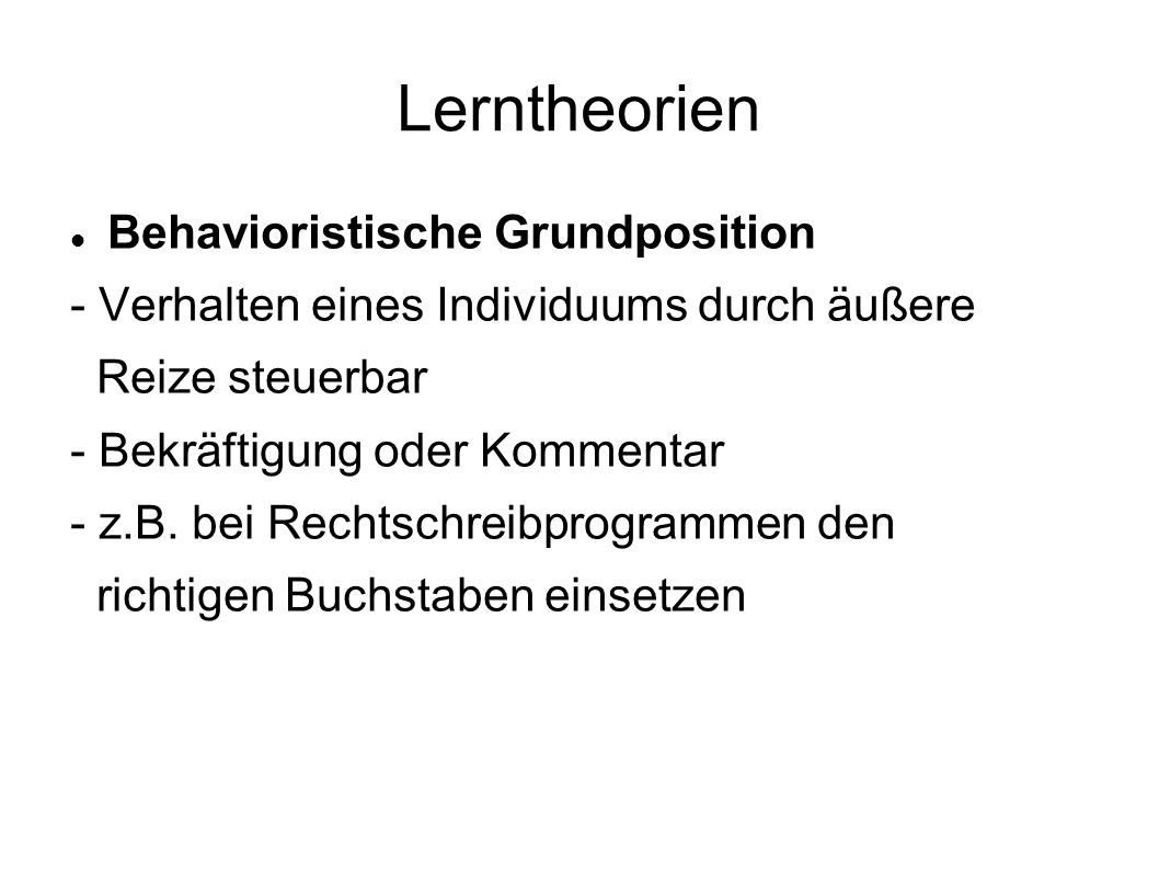 Lerntheorien Behavioristische Grundposition