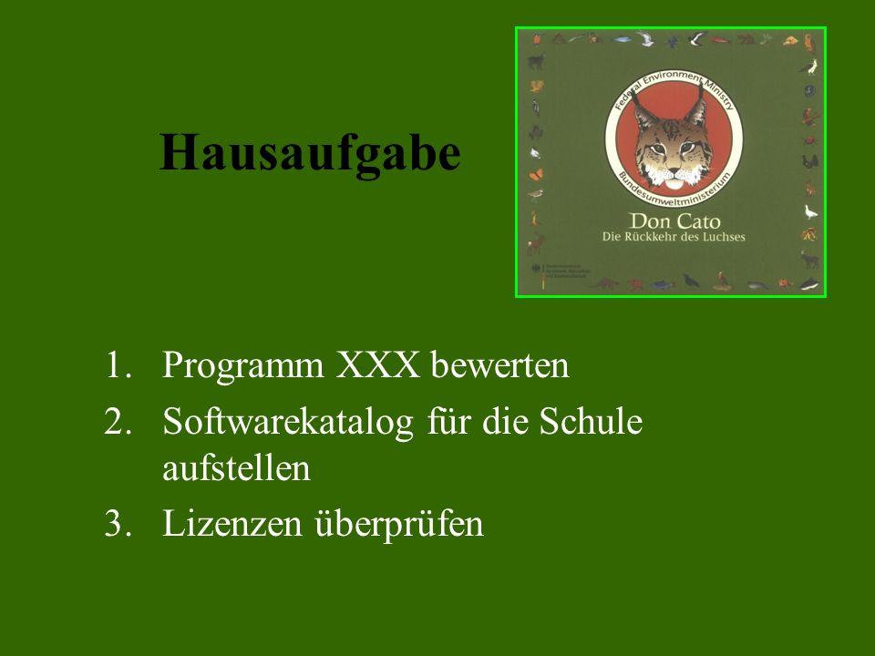 Hausaufgabe Programm XXX bewerten