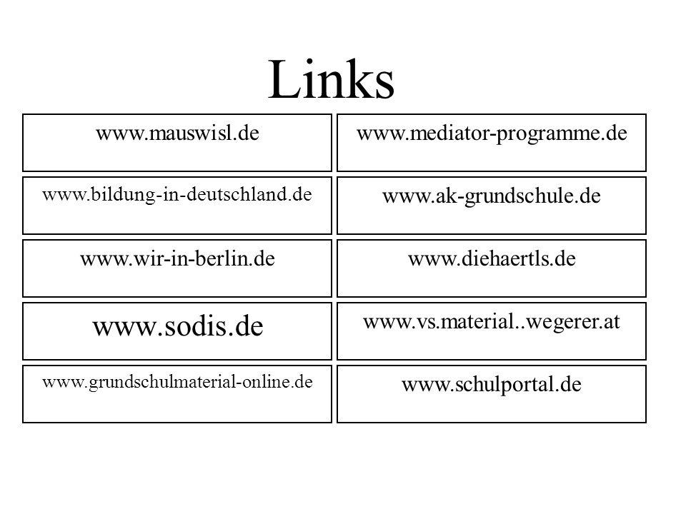 Links www.sodis.de www.mauswisl.de www.mediator-programme.de