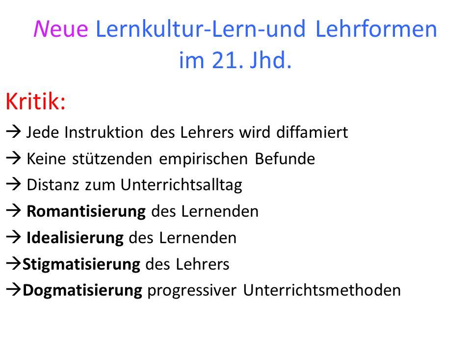 Neue Lernkultur-Lern-und Lehrformen im 21. Jhd.