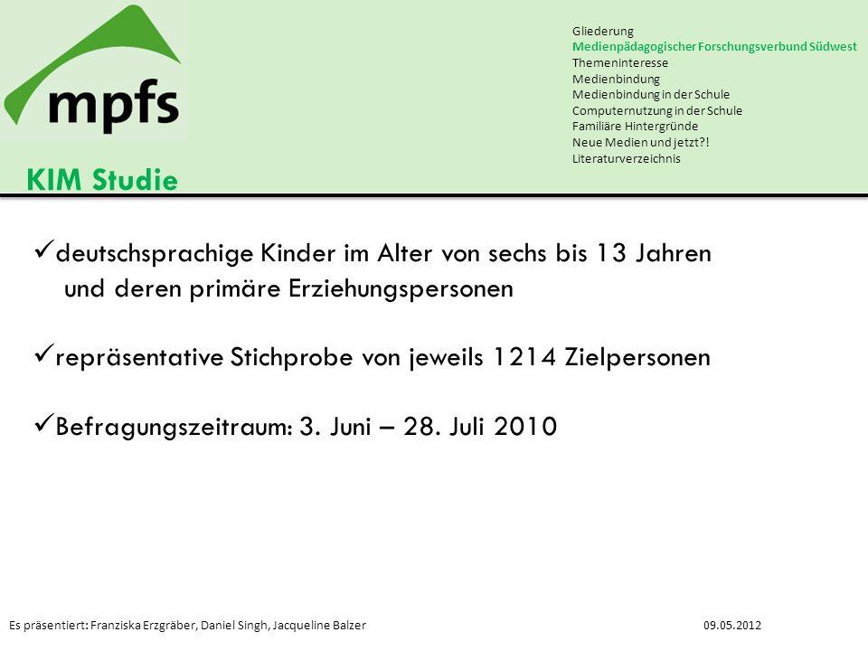 KIM Studie deutschsprachige Kinder im Alter von sechs bis 13 Jahren