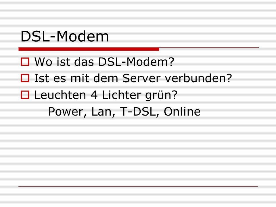 DSL-Modem Wo ist das DSL-Modem Ist es mit dem Server verbunden