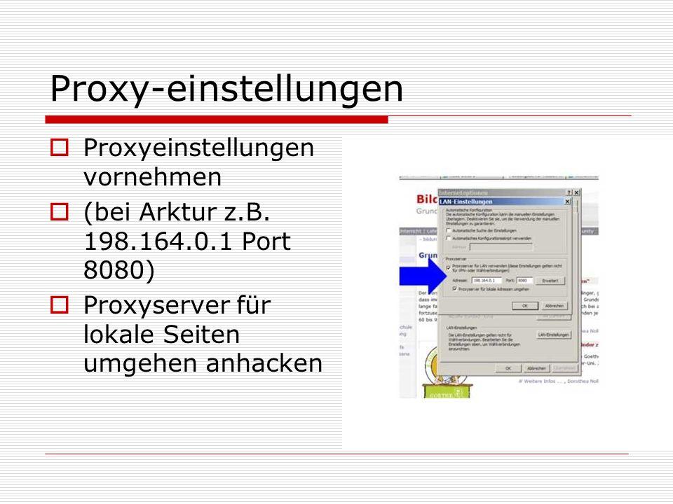 Proxy-einstellungen Proxyeinstellungen vornehmen
