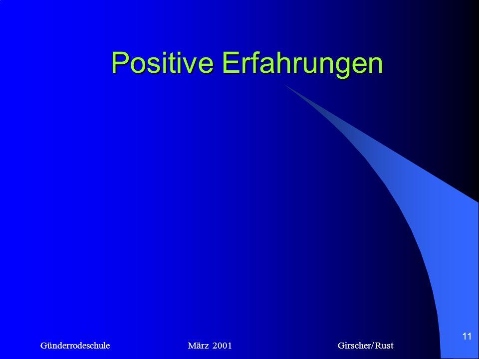 Positive Erfahrungen Günderrodeschule März 2001 Girscher/ Rust.