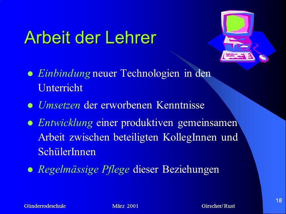 Arbeit der Lehrer Einbindung neuer Technologien in den Unterricht