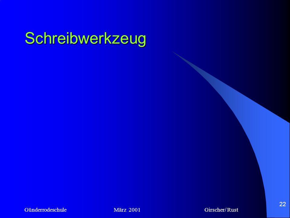 Schreibwerkzeug Günderrodeschule März 2001 Girscher/ Rust.