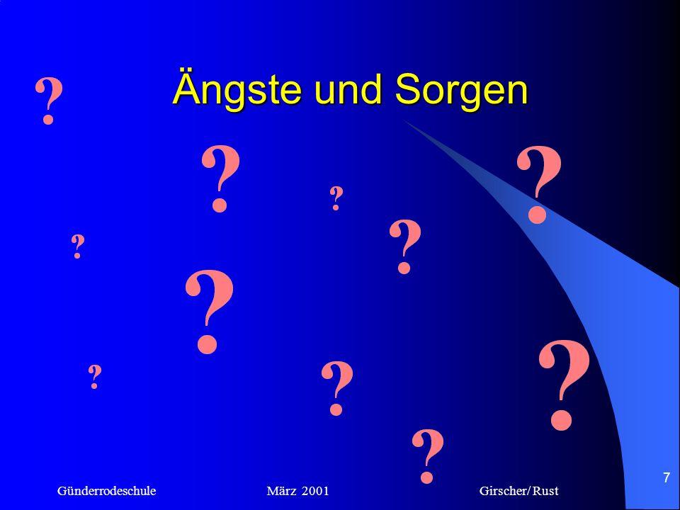 Ängste und Sorgen Günderrodeschule März 2001 Girscher/ Rust.