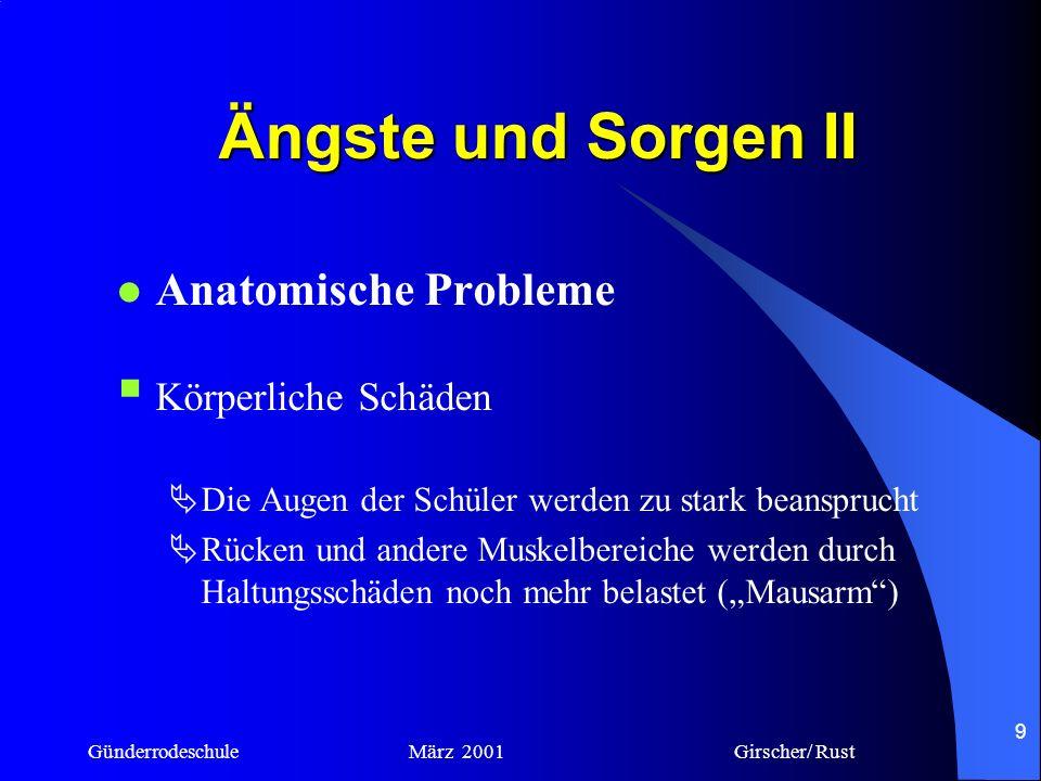 Ängste und Sorgen II Anatomische Probleme Körperliche Schäden
