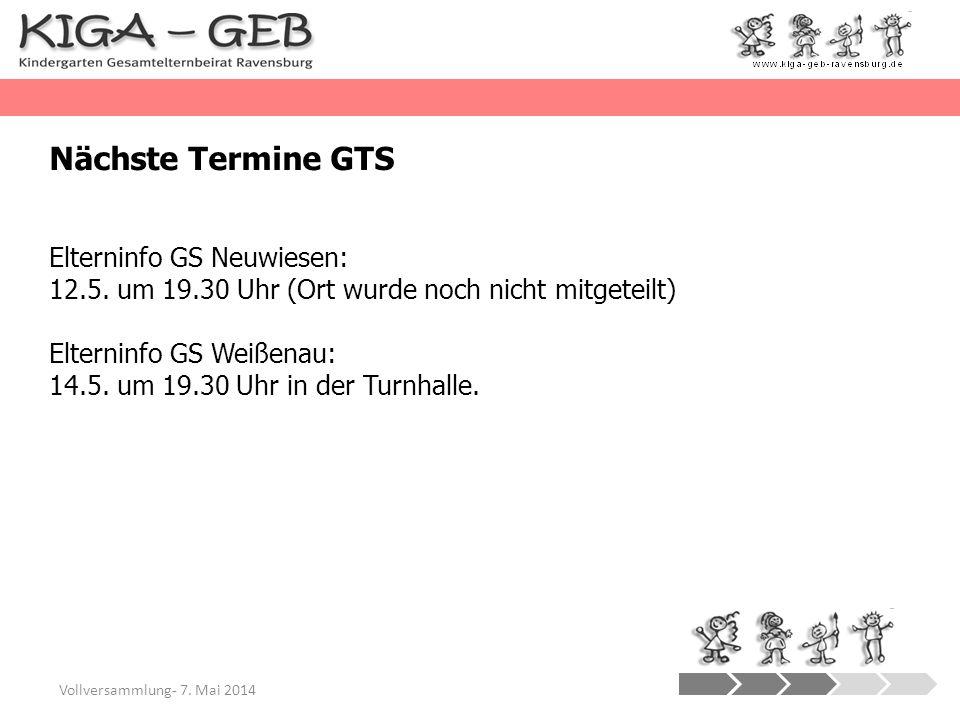 Nächste Termine GTS Elterninfo GS Neuwiesen: