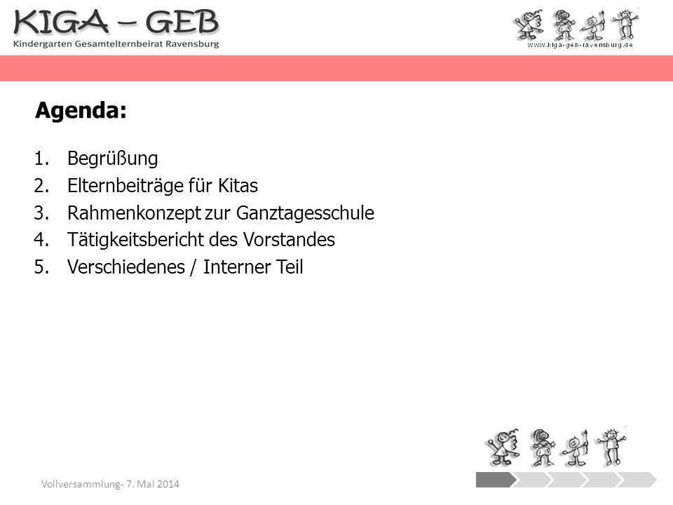 Agenda: Begrüßung Elternbeiträge für Kitas