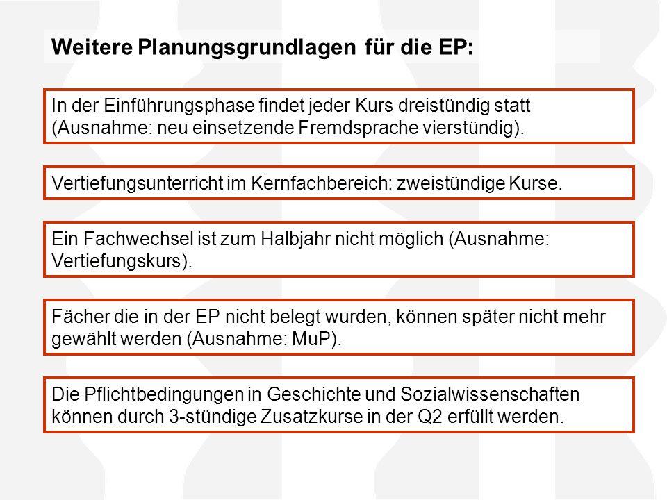 Weitere Planungsgrundlagen für die EP: