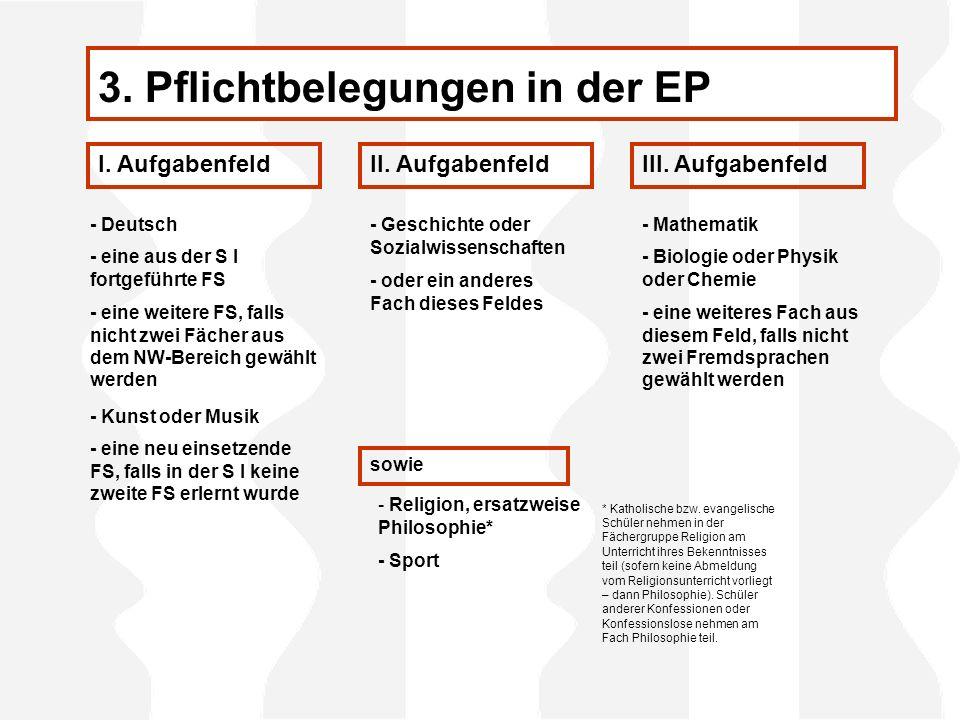 3. Pflichtbelegungen in der EP