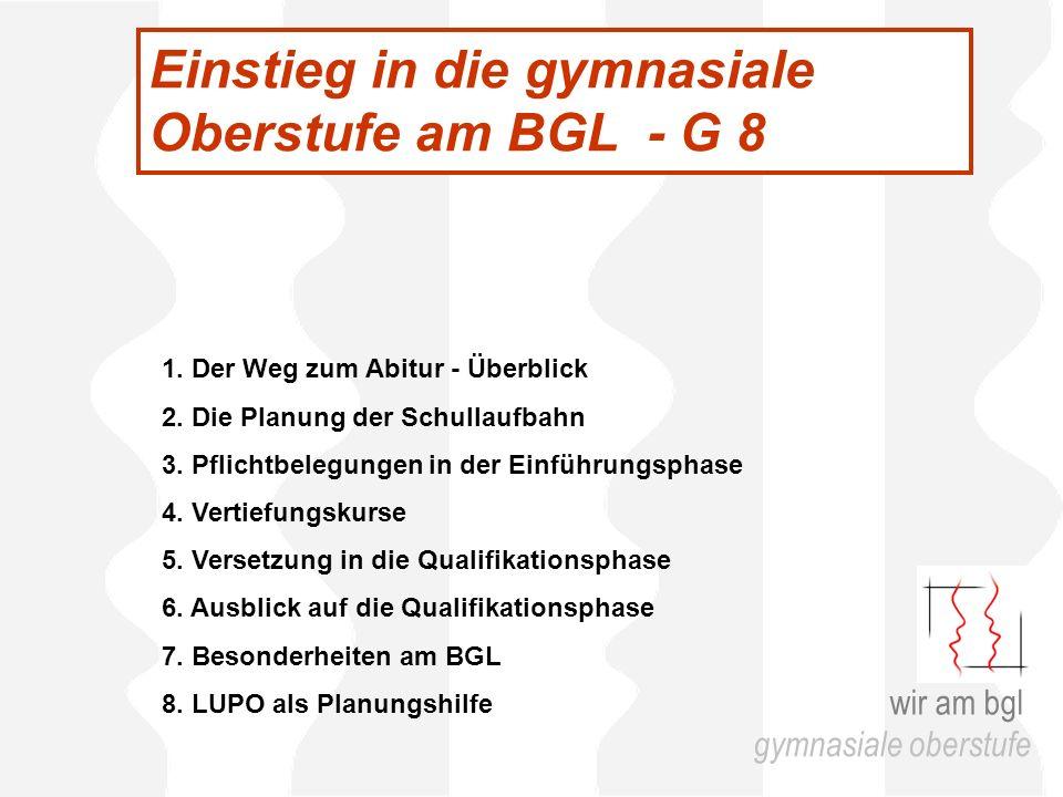 Einstieg in die gymnasiale Oberstufe am BGL - G 8