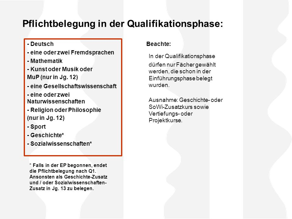 Pflichtbelegung in der Qualifikationsphase:
