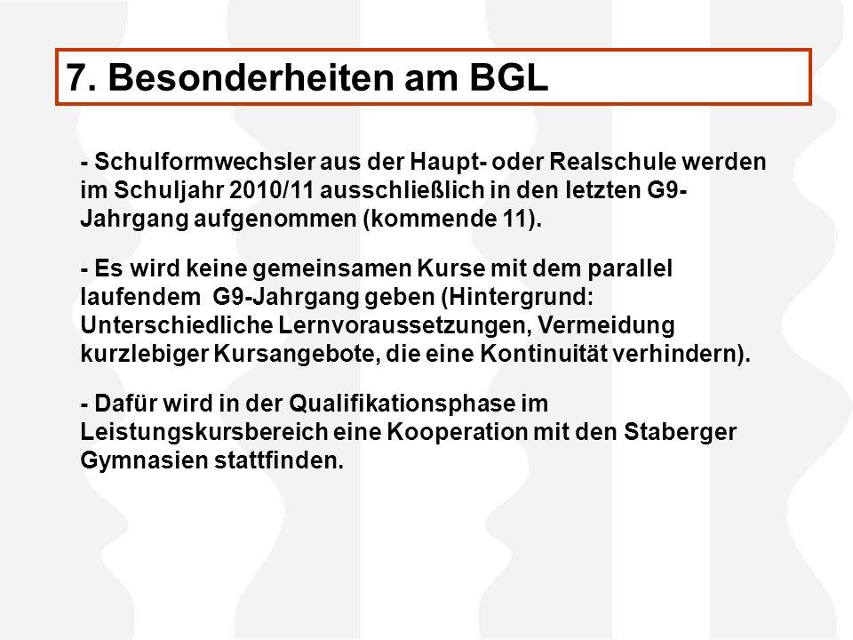 7. Besonderheiten am BGL