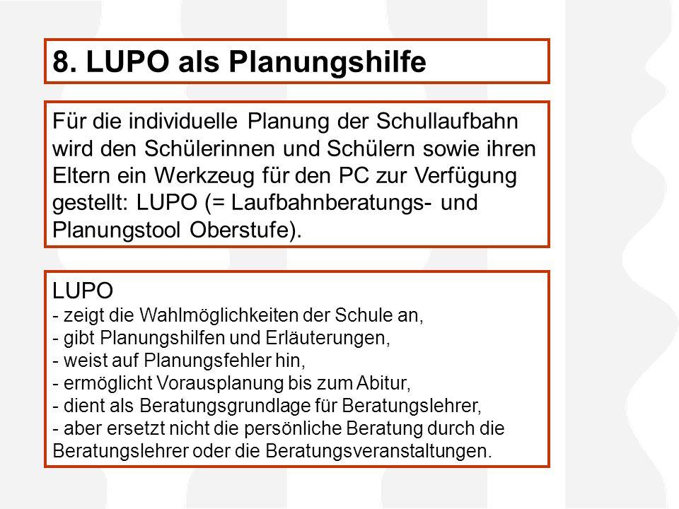 8. LUPO als Planungshilfe