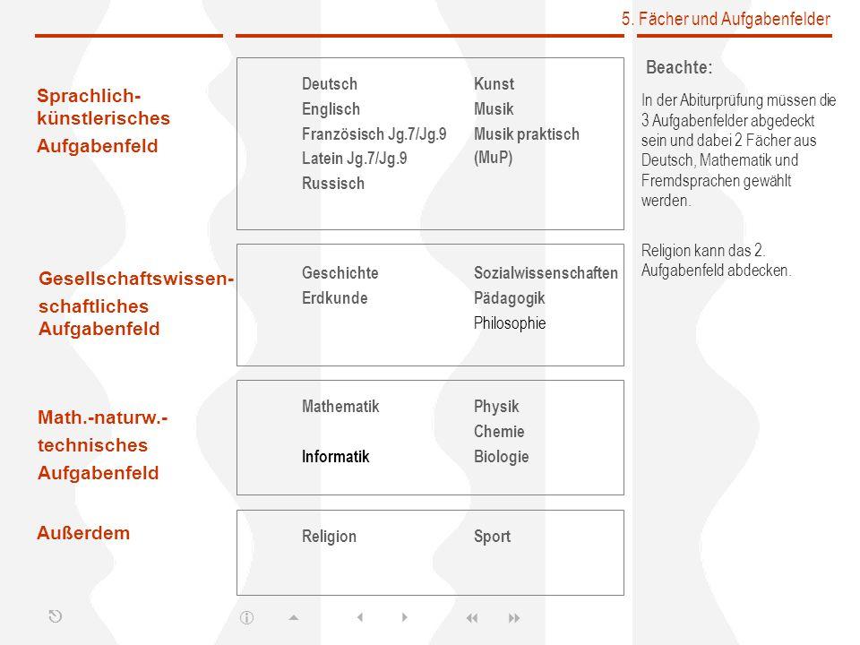 5. Fächer und Aufgabenfelder